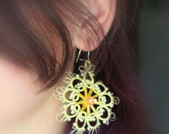 Sunny summer lace | Earrings French lace | Jewelery tatting