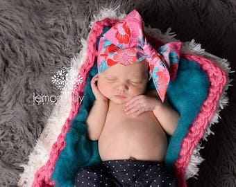 BUBBLEGUM FLORAL Gorgeous Wrap- headwrap; fabric head wrap; floral head wrap; boho; newborn headband; baby headband; toddler headband