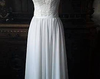 Boho Vintage Inspired A-Line Chiffon Wedding Dress with Illusion Neckline, Cap Sleeves, Lace Corset, Open Back,