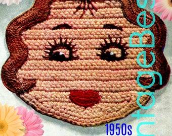 Miss America Potholder CROCHET Pattern • PdF Pattern • Vintage 1950s Digital • Super Cute for Bridal Shower Birthday DIY Wedding Potholders