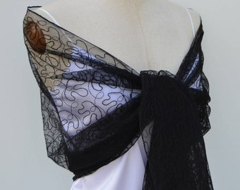 Black shawl, evening, black evening stole, evening cocktail black embroidered tulle, black tulle shoulder wrap shawl stole embroidered