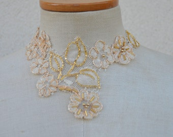 Necklace made of champagne, lace wedding lace, collar beige embroidered lace cocker, cocker beige beaded lace Choker, wedding