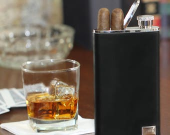 Leather Flask and Cigar Holder (g123-1115) - Free Personalization