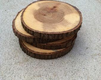 Varnished Wood Coasters: Set of 4