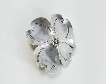 NYE Flower Brooch - Vintage Sterling Brooch - Dogwood Blossom Brooch - Mid Century Sterling Flower Brooch