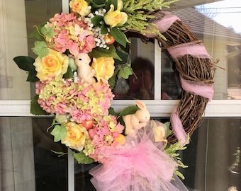 "18"" Grapevine wreath with Bunnies! Roses! Hydrangeas! Oh my!"