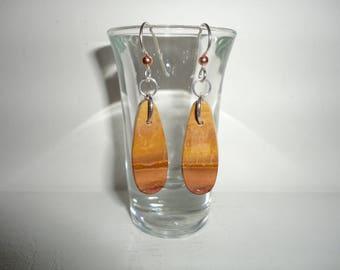 Wonderstone Rhyolite, Sterling Silver Dangle Wire Earrings