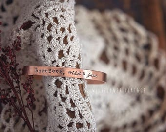 Barefoot, Wild & Free Copper Cuff Bracelet | Handstamped Gift Boho Jewelry