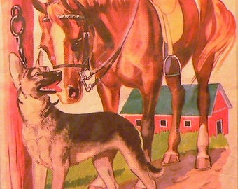 1943 Horse and German Shepard Matted Vintage Print