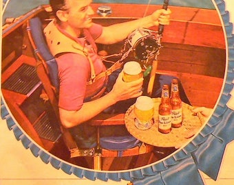 1949 Pabst Blue Ribbon Beer Ad Matted Vintage Print