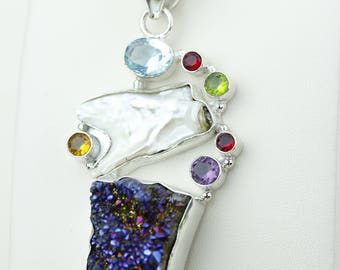 Titanium Drusy Cluster Blue Topaz Citrine Peridot Amethyst 925 S0LID Sterling Silver Pendant + 4MM Snake Chain p4197