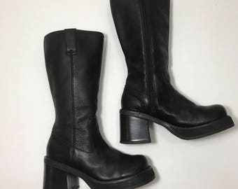Vintage Black Leather Soda 90s Chunky Heel Boots
