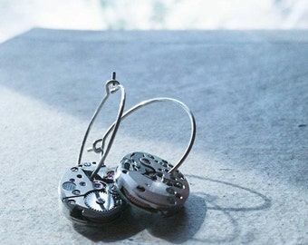 222* Timeless Earrings -old watch machinery/silver