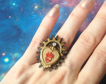 Adjustable Sacred Heart ring
