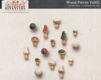 Wood Mushrooms, Wood Pieces, Commercial Use OK, Autumn Clipart, Woodland, Enchanted Forest, Fairytale, Fall, Digital, Instant Download