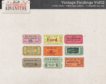 Printable Vintage Tickets, Instant Download, Commercial Use OK, Worn and Old Carnival Tickets, Admit One, Scrapbook, Digital Collage Sheet