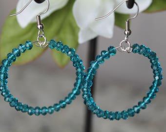 Beaded Large Hoop Earrings, Ocean Blue Glass Beads, Fashion Earrings