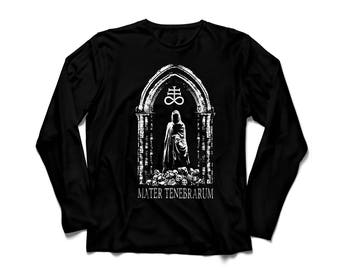 Black long sleeve unisex t-shirt TENEBRARUM