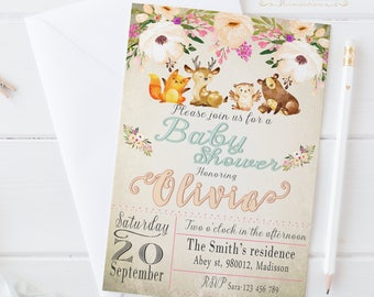 Forest Animals Baby Shower Invitation / Digital Printable Invite / DIY Party