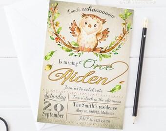 Owl Birthday Invitation / Digital Printable Invite for Kids  / DIY 1st