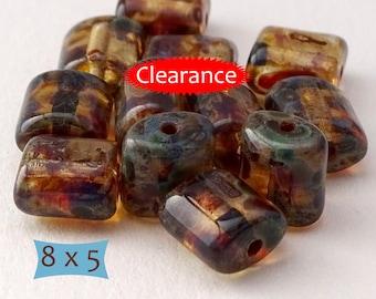 Tortoise Shell Picasso Czech Glass Barrel Beads--10 Pcs | 23-RV642-10