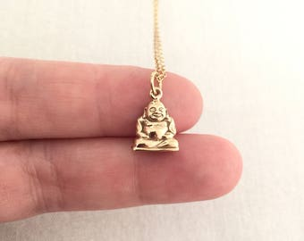 Smiling Buddha Necklace, Buddhist Necklace, Yoga Jewelry, Yoga Necklace, Meditation Necklace, Zen, Gift for Her, Friends Gift