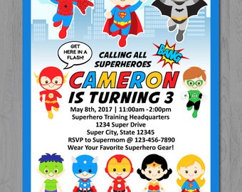 Superheroes Invitation, Superhero Party Invitation, Super Hero Party Invitation, Super Hero Invitation, Superhero Invitation printable