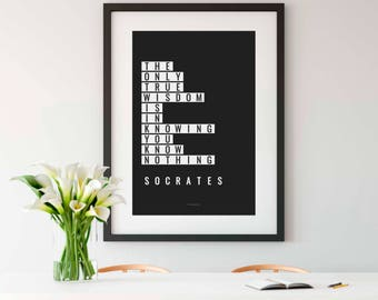 SOCRATES, Wall Art, Socrates Print, Socrates Quote, Philosophy, Philosophy Quote, Philosophy Gift, History teacher gift, 8x10, 8x10 print