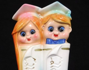 Ceramic Bank/Coin Bank/Ceramaster Piggy Bank/Kitschy Kids College Fund Figurine Bank/Boy/Girl/60's/Vintage