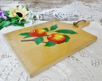 Wood Cutting Board/Painted Decorative Cutting Board/Wooden Kitchen Wall Hanging/Kitchen Wall Decor/Fruit/Apples/Oranges/Vintage/Yugoslavia