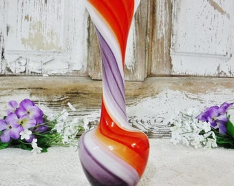 Bud Vase/Glass Vase/Swirled Glass Vase/Art Glass Vase/Orange/Purple/White/Japan/Vintage