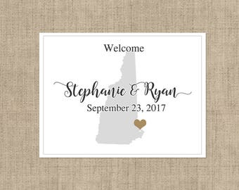 "4"" x 3""  Personalized Welcome Box Labels -  30 Wedding Welcome Bag Labels - Wedding Labels - Welcome Stickers - Box Stickers - New Hampshire"