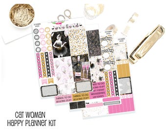 HP009 Cat WomanHappy Planner Kit Planner Stickers Full Kit Vertical Stickers Mambi Stickers Happy Planner Stickers Fall Sticker Kit
