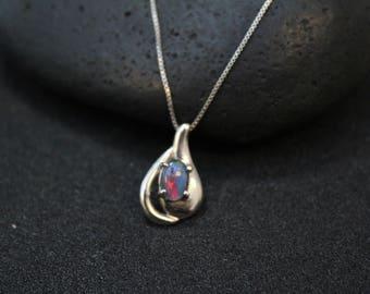 Sterling Silver Opal Triplet Necklace, Opal Necklace, Opal Pendant, Sterling Silver Opal Jewelry, Modern Opal Pendant, Genuine Opal