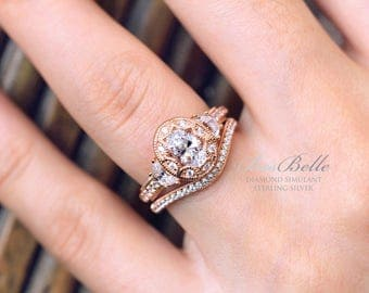 2.51 ct.tw Vintage Art Deco Bridal Set Ring-Oval Cut-Engagement Ring W/ Curve Wedding Ring-Rose Gold Plated-Sterling Silver [65039RG-2A]