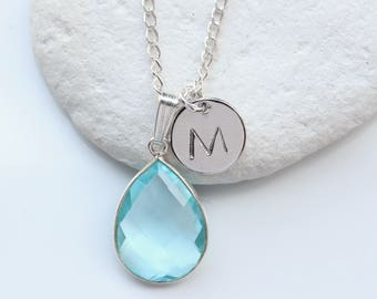 Blue Topaz Teardrop Quartz Bezel Necklace with Personalised Initial Letter Pendant on Sterling Silver Chain- FREE SHIPPING - GG1 - P1