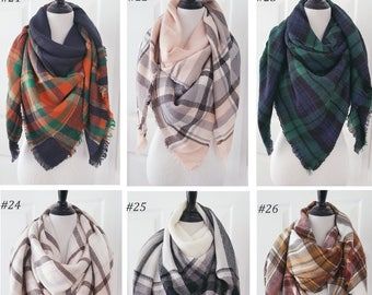 Plaid Blanket Scarf, Blanket Scarf, Tartan Plaid Scarf, Gift For Her, Oversized Blanket Scarf, Plaid Scarf, Christmas Gifts, Monogrammed