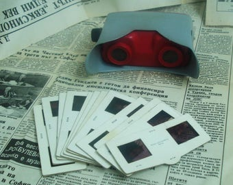 Stereoscope 3- Slide Projector-Portable filmoskop- Film viewer- Soviet toy-Old stereoscope -Portable viewer - Slide viewer - 3D photo viewer