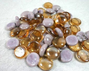 Purple Lilac And Orange Copper Glass Nuggets Purple Glass Cabochons Glass Mosaic Pebbles Mosaic Stones Craft Mosaic Glass Mosaic Tiles