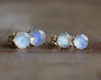 Moonstone Stud Earrings in Silver and Gold, June Birthstone, 5 or 6mm Moonstone Studs, Rainbow Moonstone Jewellery, Wife Gift
