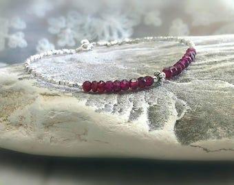 Hyderabadi Garnet and Karen Hill Silver Beads Bracelet, Gemstone Bracelet January Birthstone , Beadwork, Gifts for Her