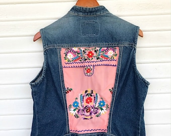 Mexican Embroidered Denim Vest - Denim - Patched - Upcycled Vest - Size Large