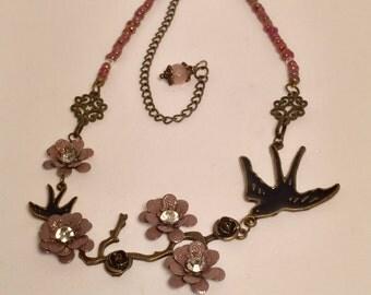 Bird and Flower Retro Necklace