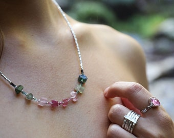 Stunning Graduated Raw Watermelon Tourmaline Necklace with Thai Hill Tribe Silver