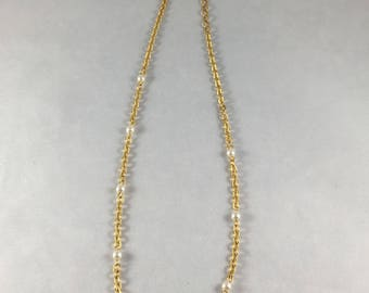 Napier Thin Gold Chain Necklace with Faux Pearls