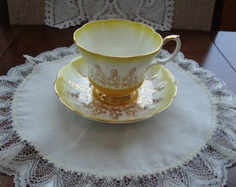 """Royal Albert - """"Overture Series"""" Yellow - Bone China England - Chelsea Style Vintage Tea Cup and Saucer"""