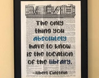 The only thing you absolutely have to know is the location of the library; Gifts for readers; Dictionary Print; Page Art;
