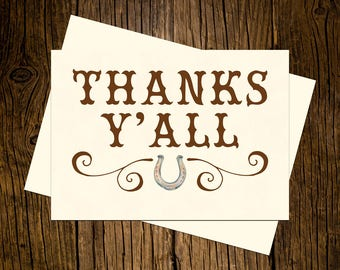Western Thank You Note Cards Custom Printed Handmade Stationery Set of 12 Vintage Ecru Brown Rustic Cowboy Cowgirl