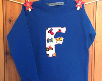1st birthday * baby boy 1st birthday outfit *boys birthday t shirt *initial/letter/age tshirt *personalised * tractor t * Yew Tree Stitches