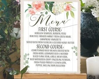 Printable Wedding Menu Sign, Custom Menu Sign, Wedding Dinner Menu Download, floral